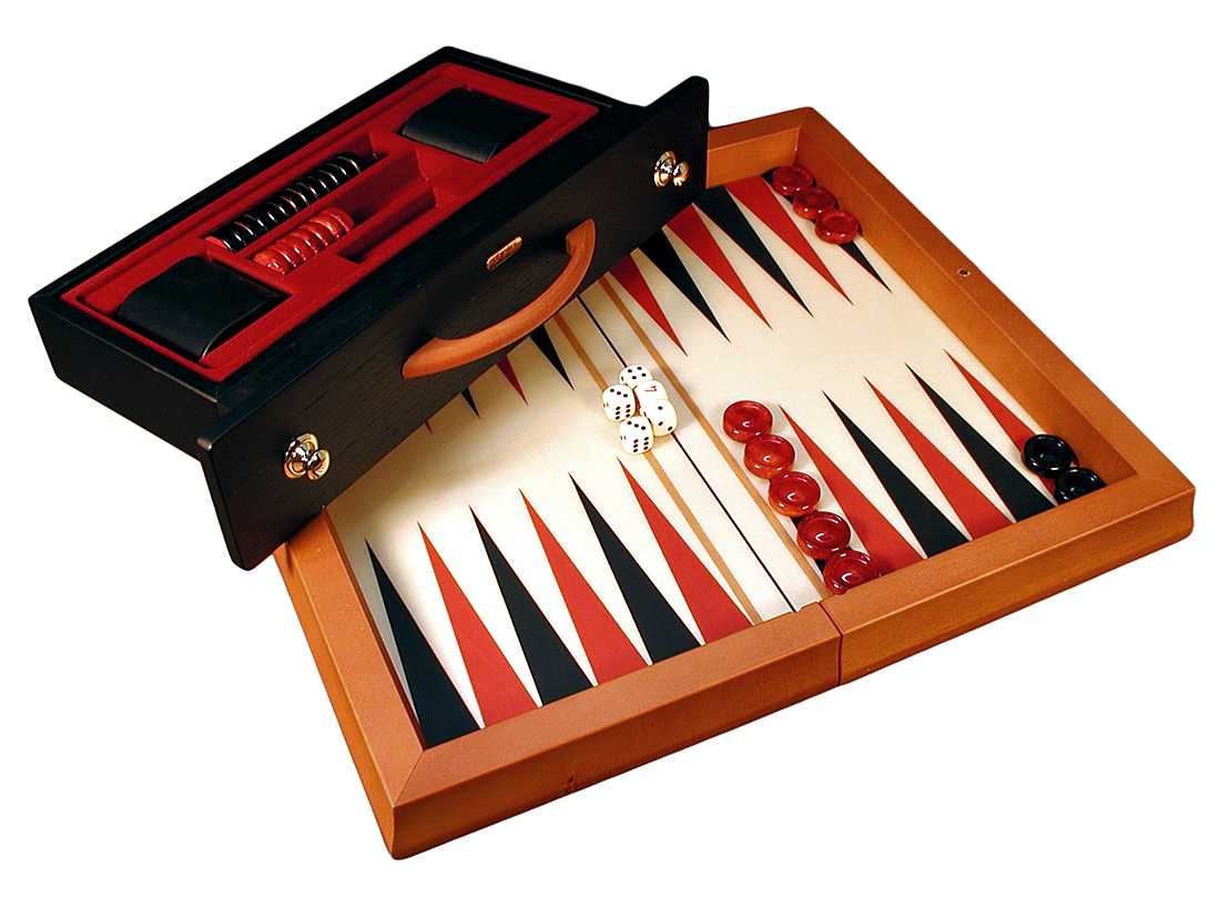 Red & Black Wood Flat Backgammon Set by World Wise Imports