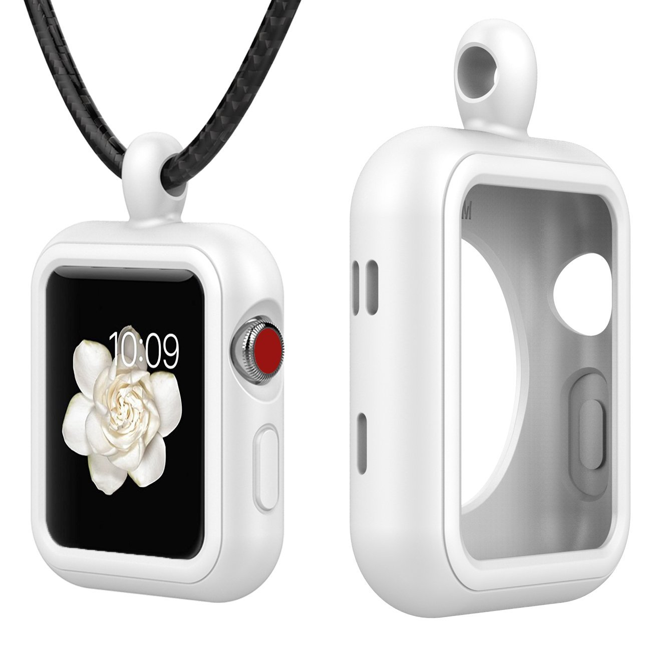 Moretek Apple Watch Accessories Necklace Pendant Case Cover for Apple Watch 38MM Series 3 / 2 / 1 / Nike+ / Edition (38mm, White)