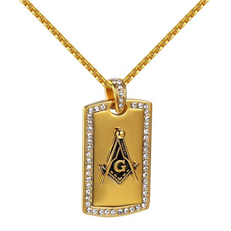 Masonic g dog tag pendant lab created cubic zirconias 24 for Custom lab made hip hop jewelry