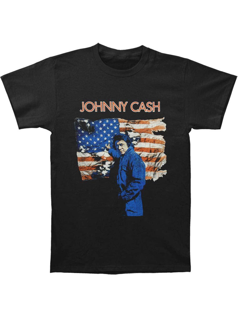 Johnny Cash Ragged Old Flag M 2XL Black T-Shirt L XL