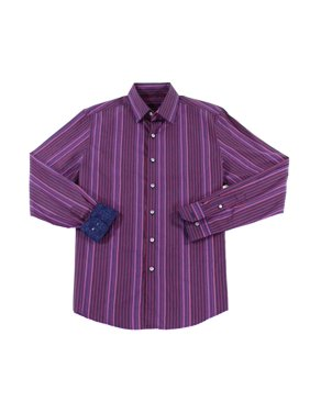Mens Dress Shirt Busto Striped Long-Sleeve 3XL