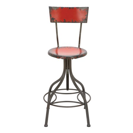 - Decmode 41 Inch Rustic Distressed Red Iron Bar Chair, Red