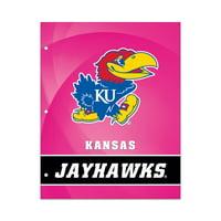 NCAA Kansas Jayhawks 2 Pocket Portfolio, Three Hole Punched, Fits Letter Size