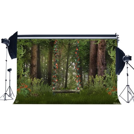 HelloDecor Polyster 7x5ft Photography Backdrop Dreamy Fairy Tale Forest Flowers Vine Swing Grass Field Nature Scene Backdrops for Baby Kids Children Adults Portraits Background Photo Studio Props (Scene Backdrops)