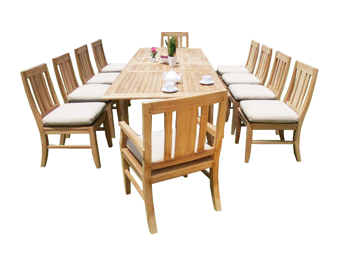 "11 PC A Grade Outdoor Patio Teak Dining Room Set 117"" Double Extension Rectangle Table & 10 Osawa Chairs... by"