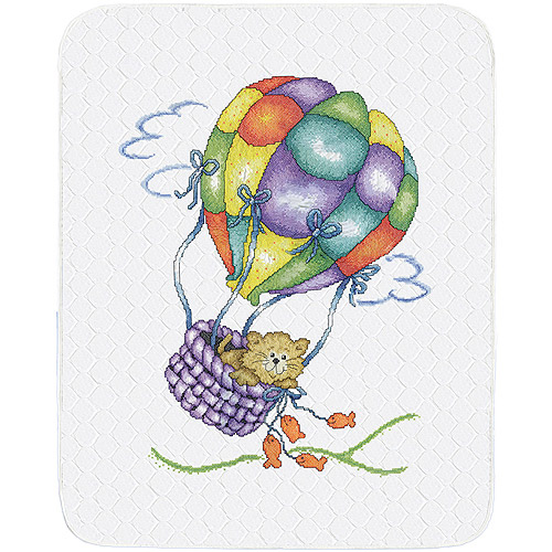 "Balloon Cat Quilt Stamped Cross Stitch Kit, 34"" x 43"""