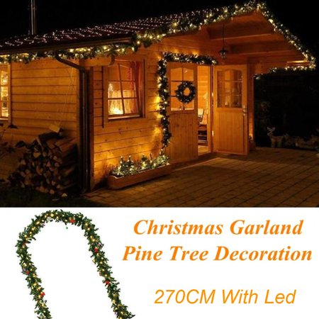 LED 2.7M Christmas Decoration Ornaments Xmas Tree Garland Rattan Home Wall Pine - Walmart.com