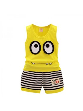 6f944bf1 Product Image Topumt Baby Boy Vest Outfits Cartoon Sleeveless T-shirt Tops+Striped  Shorts Set