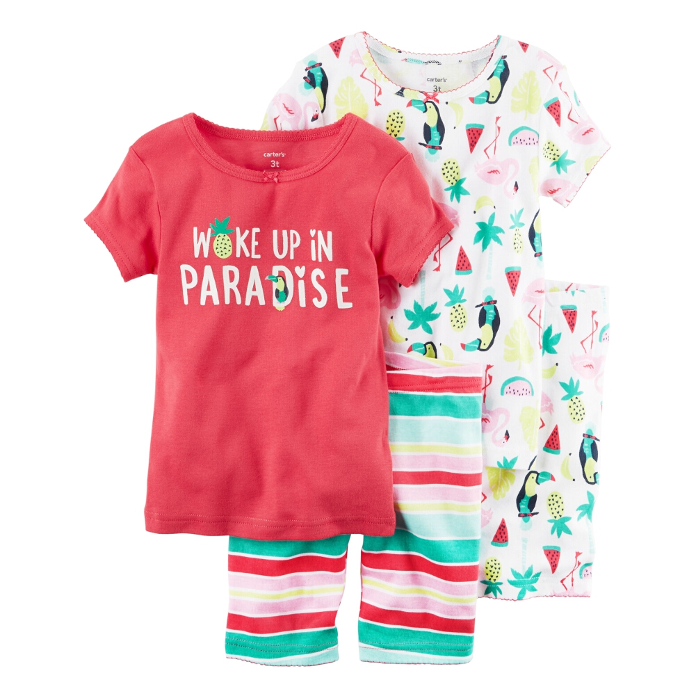 Carters Baby Clothing Outfit Girls 4-Piece Snug Fit Cotton PJs Woke up in Paradise Pink