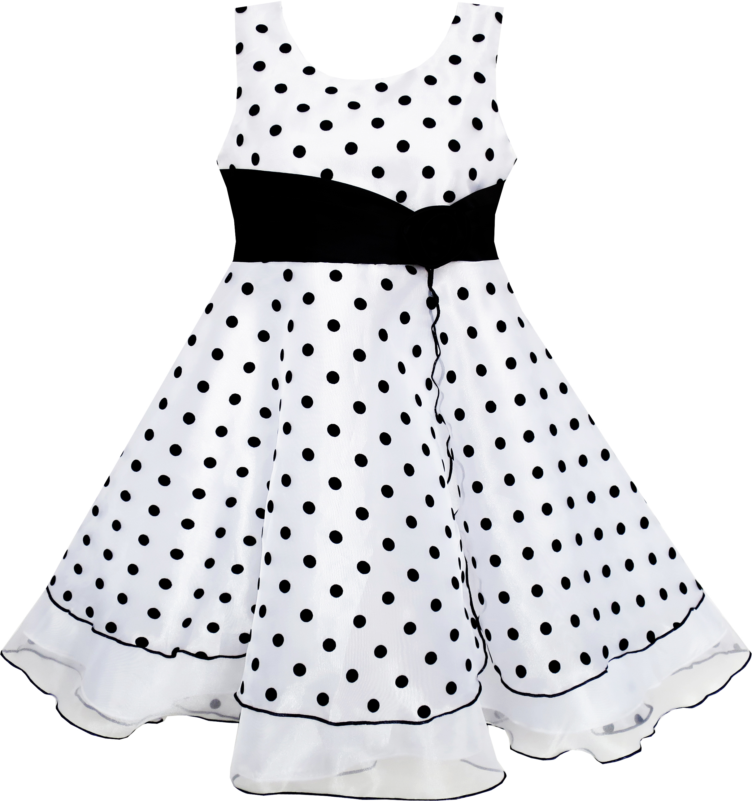 Sunny Fashion Girls Dress Black White Dot Tulle Party Pageant Size 4-12