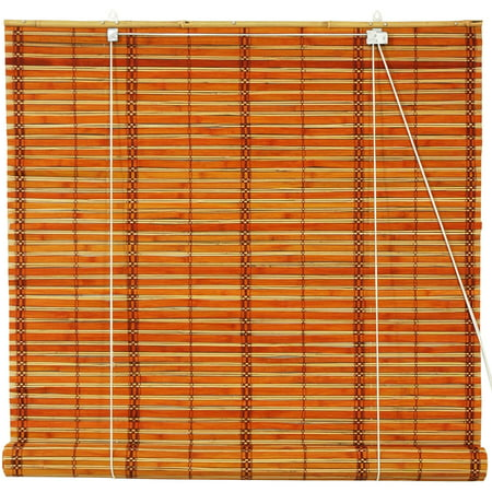(Burnt Bamboo Roll Up Blinds, 2-Tone Honey)