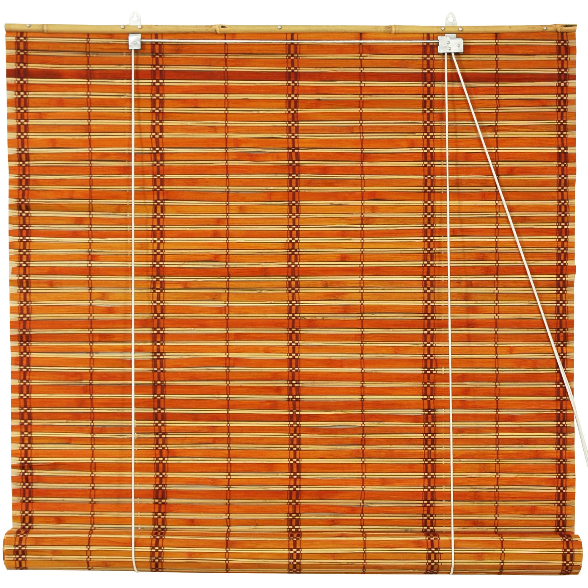 Burnt Bamboo Roll Up Blinds, 2-Tone Honey