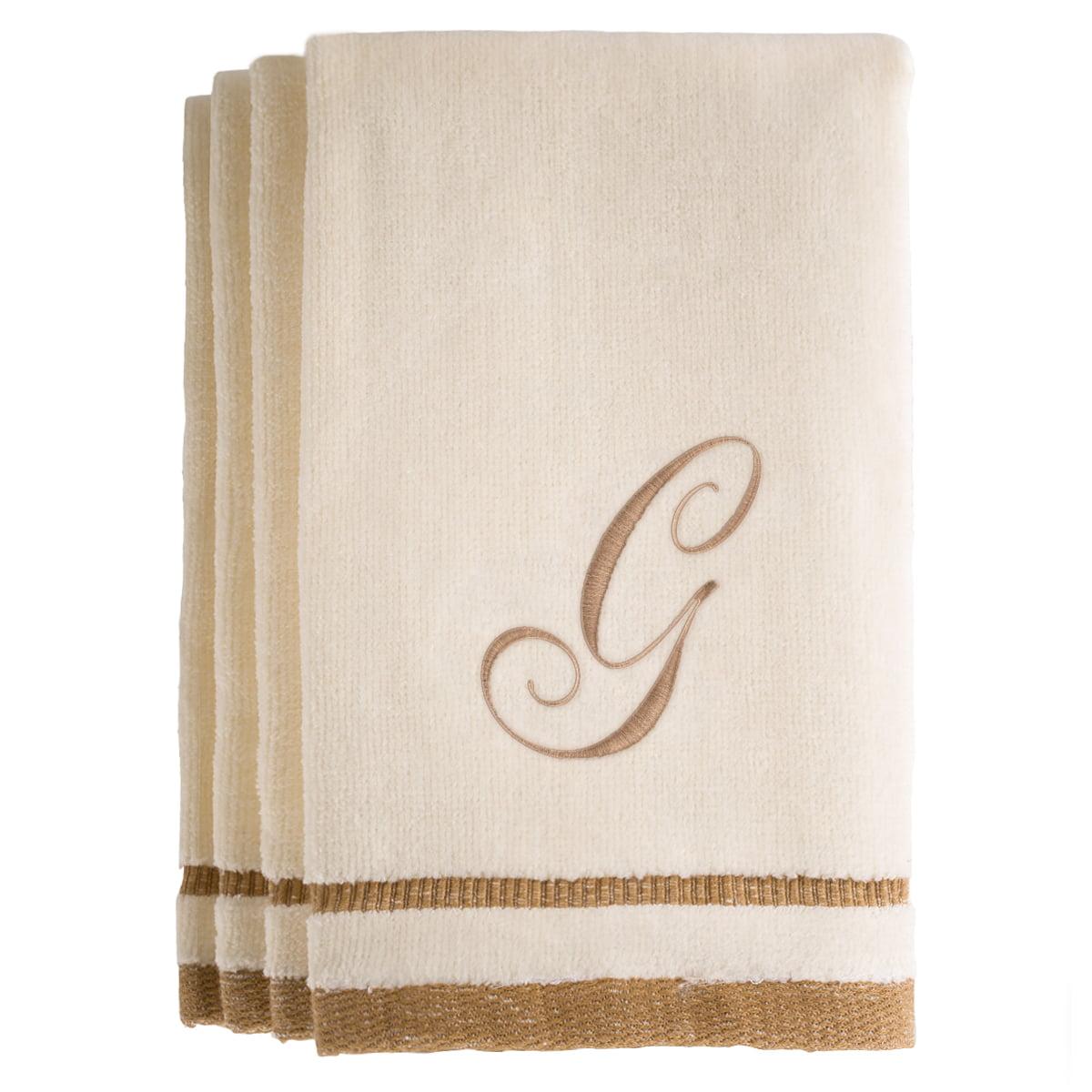 Monogrammed Ivory Fingertip Towels Set of 4