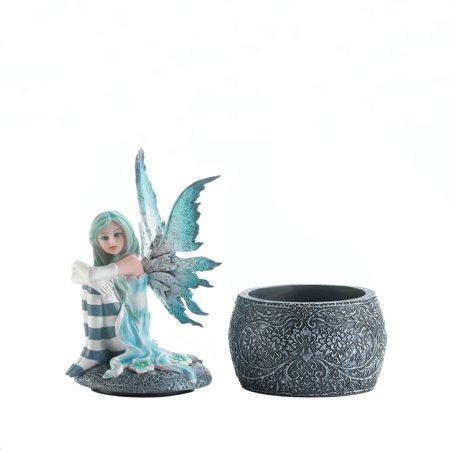 Fairy Figurines Collectible, Polyresin Gothic Icy Blue Fairy Figurines Miniature - Baby Gothic