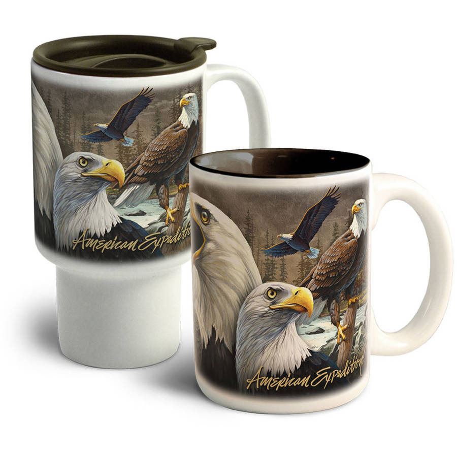 American Expedition Collage Home and Away Stoneware Mug Set