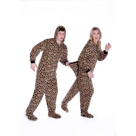 Leopard Print Onesie Hoodie Plush Footed Pajamas w/ Drop Seat Adult Onesie