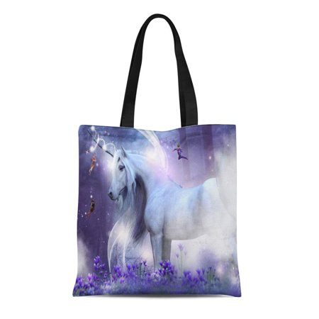 NUDECOR Canvas Bag Resuable Tote Grocery Shopping Bags Purple Majestic Unicorn with Three Little Fairies Sending Magic Sparkles They Ar Tote Bag - image 1 de 1