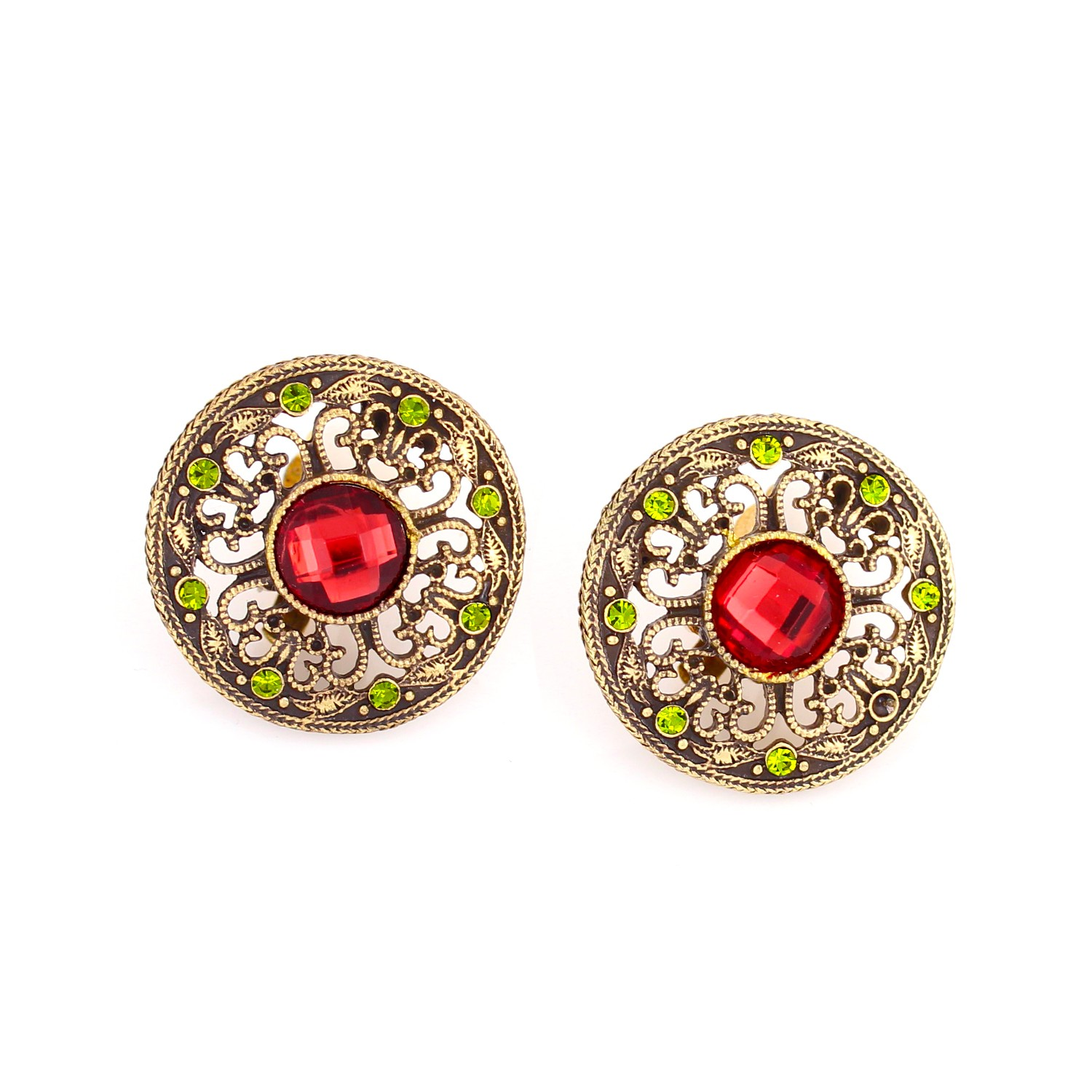 TAZZA WOMEN'S GOLD RED CRYSTAL CLIP ON EARRINGS