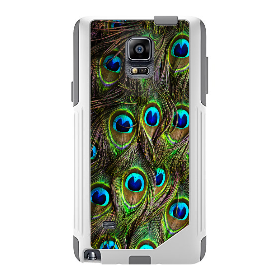 DistinctInk™ Custom White OtterBox Commuter Series Case for Samsung Galaxy Note 4 - Peacock Feathers