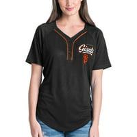 Women's New Era Black San Francisco Giants Henley Mesh Jersey T-Shirt