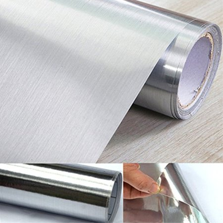 - UPREDO Thick Metal Look Stainless Steel Adhesive Metallic Shelf Liner Contact Paper Vinyl Film Backsplash Cover 24in by 79in Si
