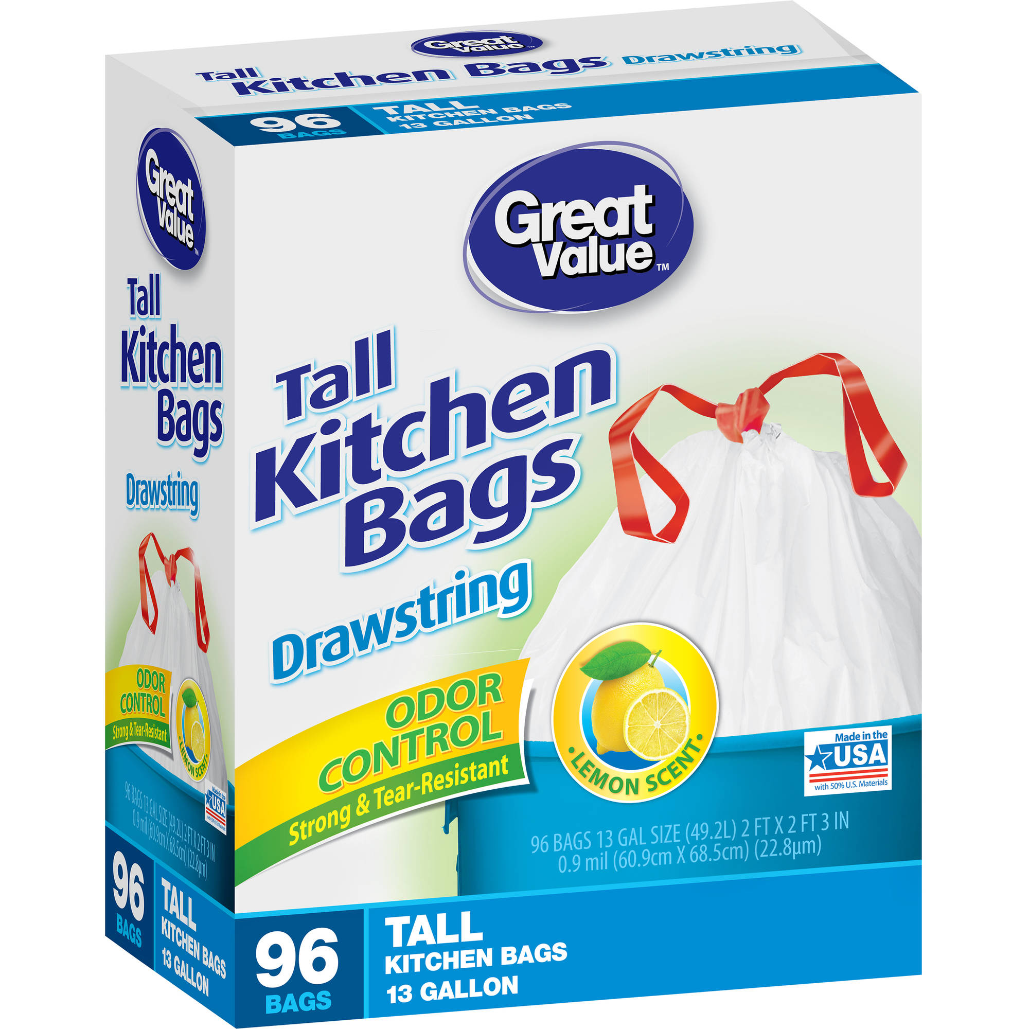 Great Value Drawstring Odor Control Lemon Scent Tall Kitchen Trash Bags, 13 gal, 96 count