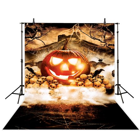 MOHome Polyster 5x7ft Halloween Theme Photography backdrop background Legendary Pumpkin King photo studio - Pumpkin King Halloween Prop