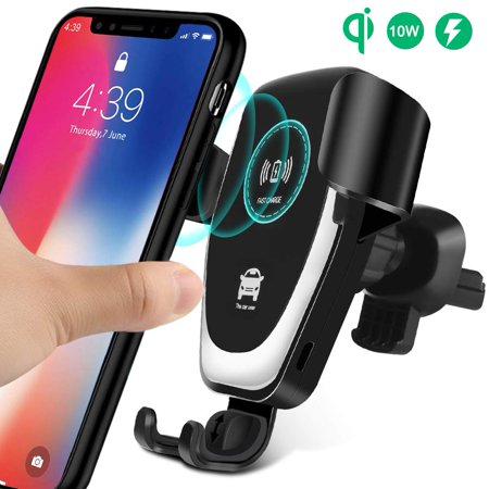 Wireless Charger Car Mount, One-Hand Auto Clamping Air Vent Phone Holder, 10W Fast Charging for Samsung Galaxy S9 S8 S7 Note 8. 7.5W Compatible with iPhone Xs XR X 8 and Qi Enabled (Best Car Charger For Iphone 5s)