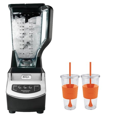 Ninja BL610 Professional Table Top 1000 Watts Blender With 2 x Copco Eco First Tumbler 24 Ounce Togo Cup Mug - Orange