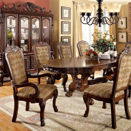 Traditional Wood Oval Dining table in Brown Medieve by Furniture of America