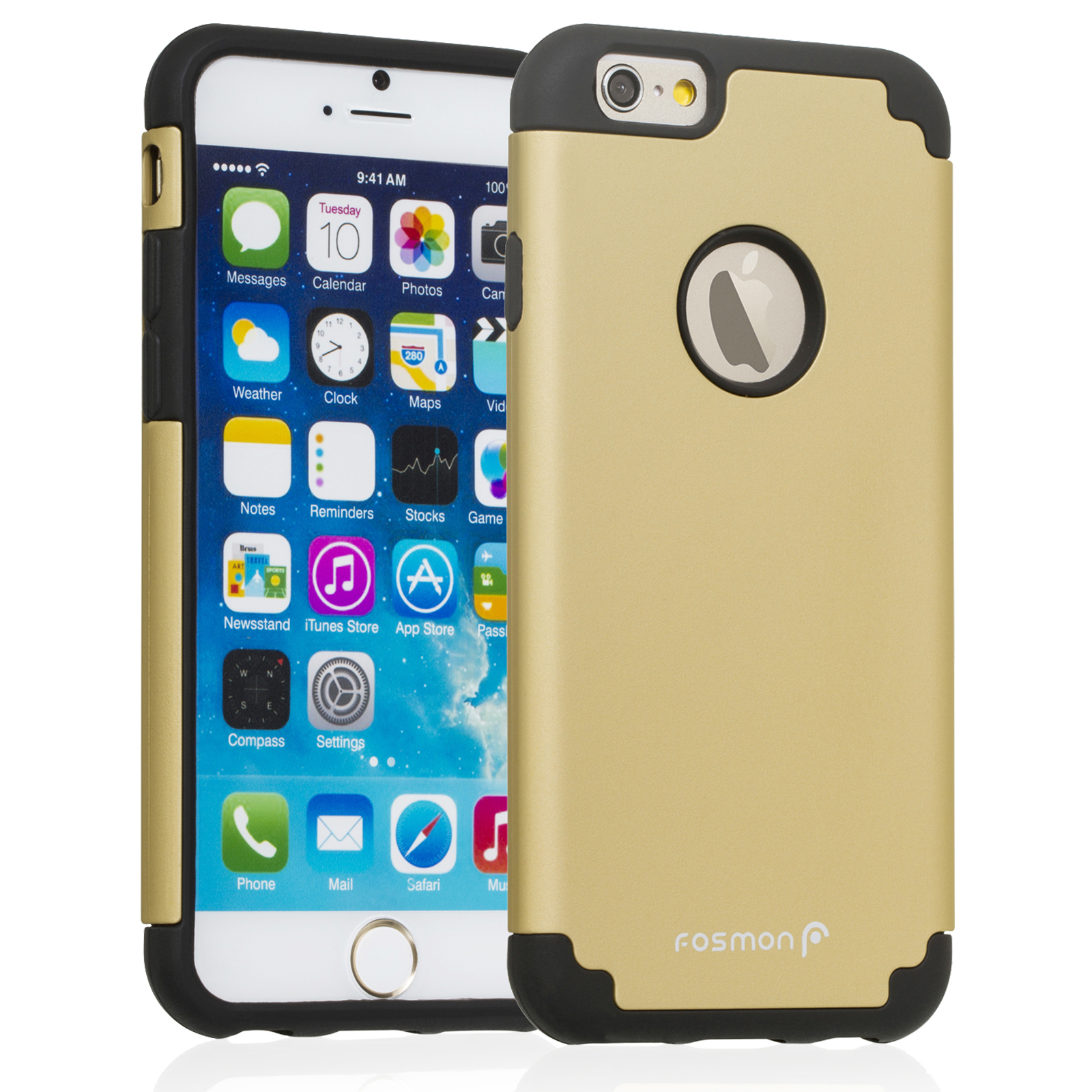 Fosmon HYBO-DUOC Slim Fit Dual-Layer Hybrid Case for Apple iPhone 6 (4.7�) (Black / Gold)