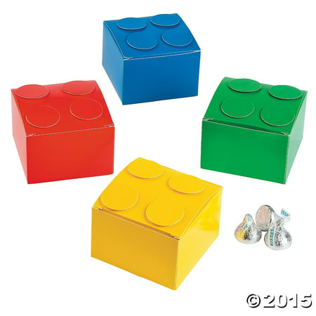 Green Favor Boxes (Building Blocks Party Favor Boxes Lot of 12 Assorted Colors Treat Boxes)
