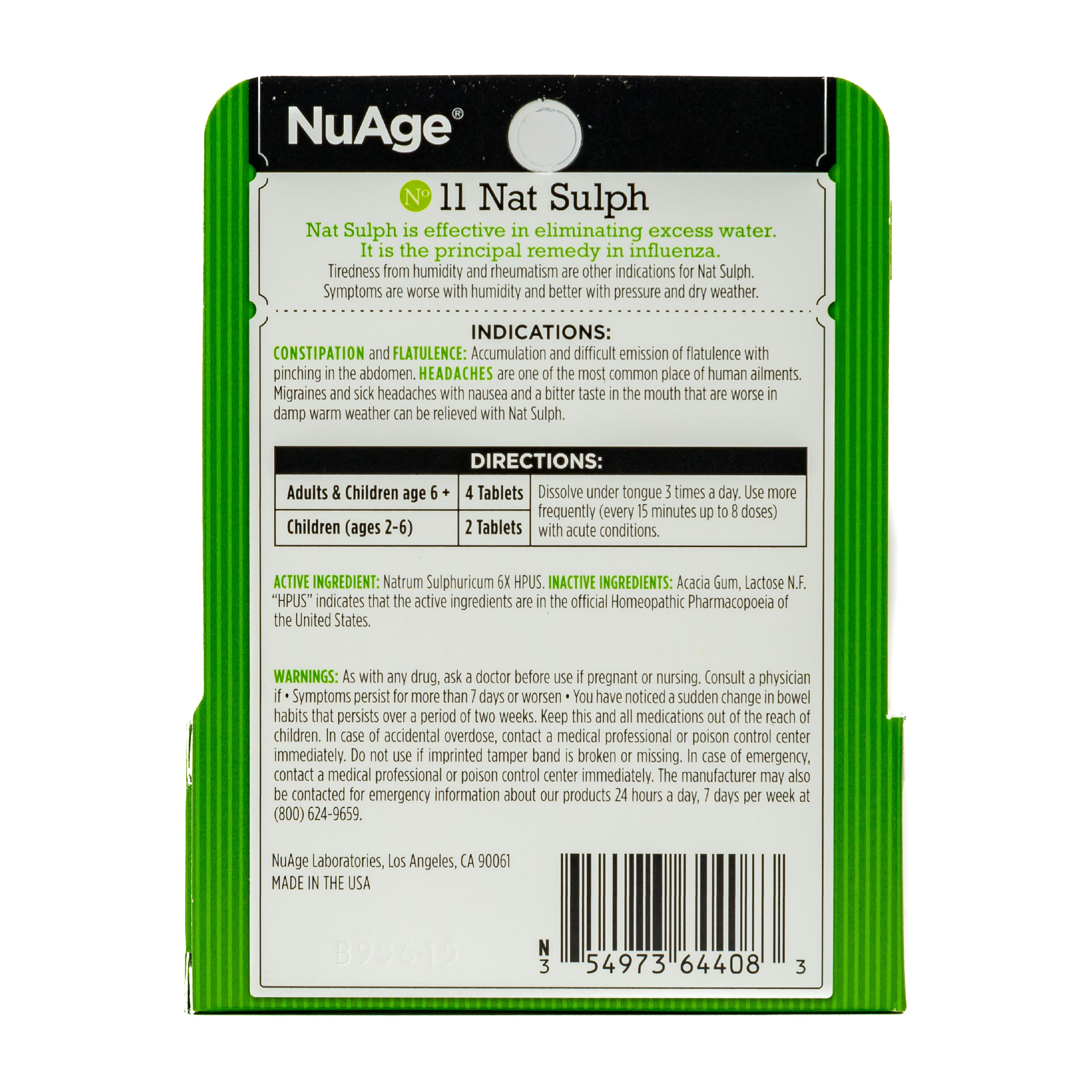NuAge Homeopathic #11 Natrum Sulphuricum Tablets, Natural Relief of  Constipation, Flatulence and Headaches, 125 Count