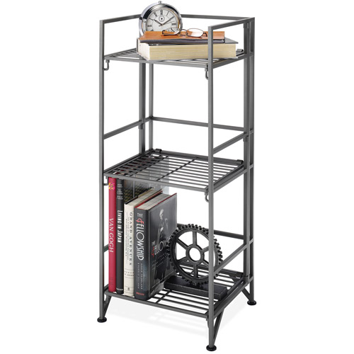 Whitmor 3-Tier Folding Shelves, Black/Gray