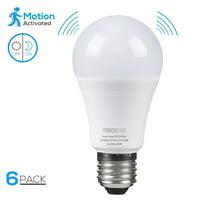 TORCHSTAR 6 Pack 9W A19 Motion Sensor Light Bulbs, LED Smart Light Bulb, 6000K Pure White
