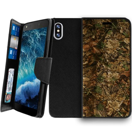 Wallet Case For Apple Iphone X 2017  Magnetic Shut Folio Case For Iphone X  Apple Iphone X Leather Case  Clip Folio  Kickstand Secure Id Case Case   Hunting Leaves Camo