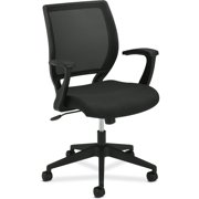 basyx VL521 Series Mid-Back Work Office Chair, Mesh Back, Fabric Seat, Black