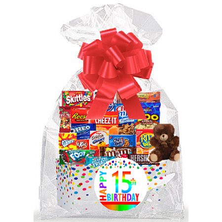 CakeSupplyShop Item#015BSG Happy 15th Birthday Rainbow Thinking Of You Cookies, Candy & More Care Package Snack Gift Box Bundle Set - Ships FAST! Care Package Gift Ideas
