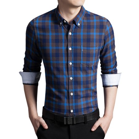 Men`s Spring Casual Slim Fit Plaid Long Sleeve Button Down Dress Shirt