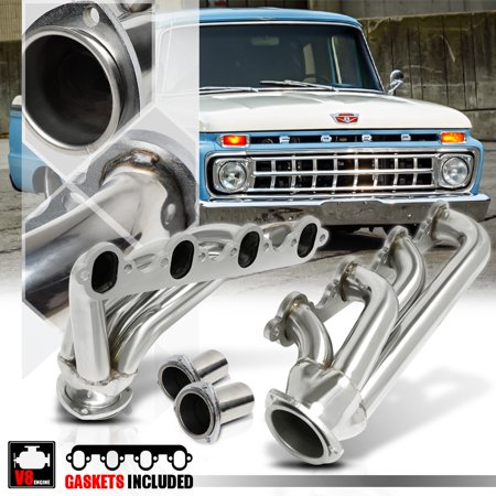 Stainless Steel Shorty Exhaust Header Manifold for 57-72 Ford F100 5.8/5.9/6.4 58 59 60 61 62 63 64 65 66 67 68 69 70