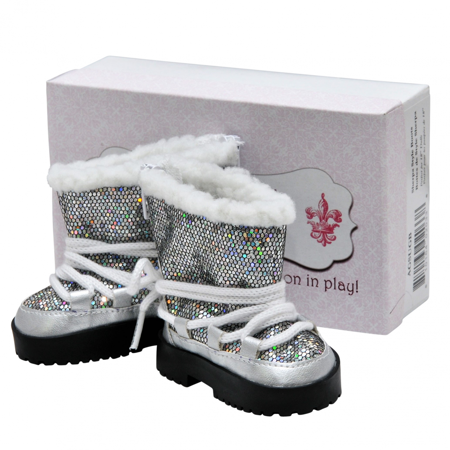 Fashionable Silver Sparkle Winter Lace Up Boots +Authentic Shoe Box, Clothing Accessories Fits 18