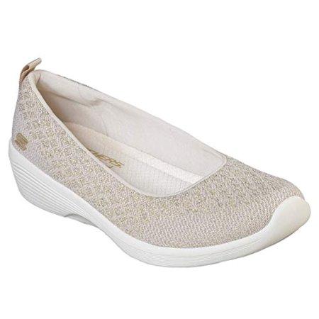 Skechers Arya In The Stars Womens Slip On Skimmer Sneakers Natural/Gold