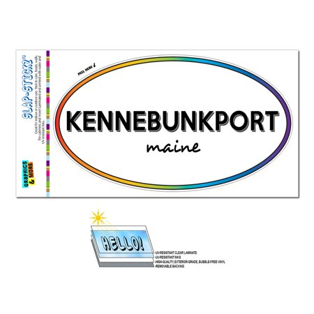 Kennebunkport, ME - Maine - Rainbow - City State - Oval Laminated Sticker
