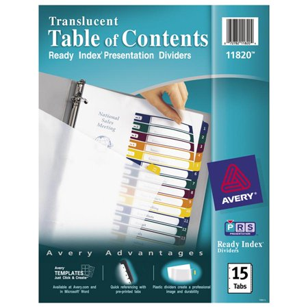 Avery Ready Index Customizable Table Of Contents Plastic Dividers