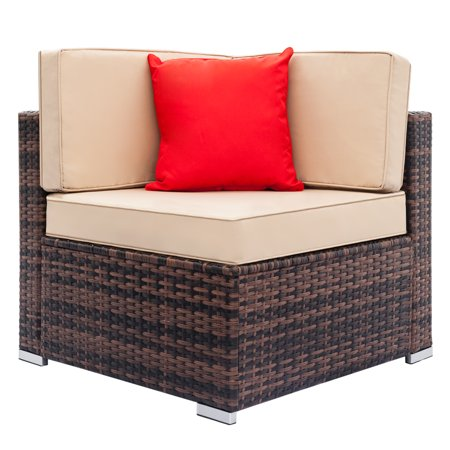 Fully Equipped Weaving Rattan Sofa Set Brown Gradient-Right Sofa
