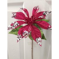 """Perfect Holiday 12"""" Glitter Poinsettia Flower Artificial Christmas Spray Pick (Purple)"""