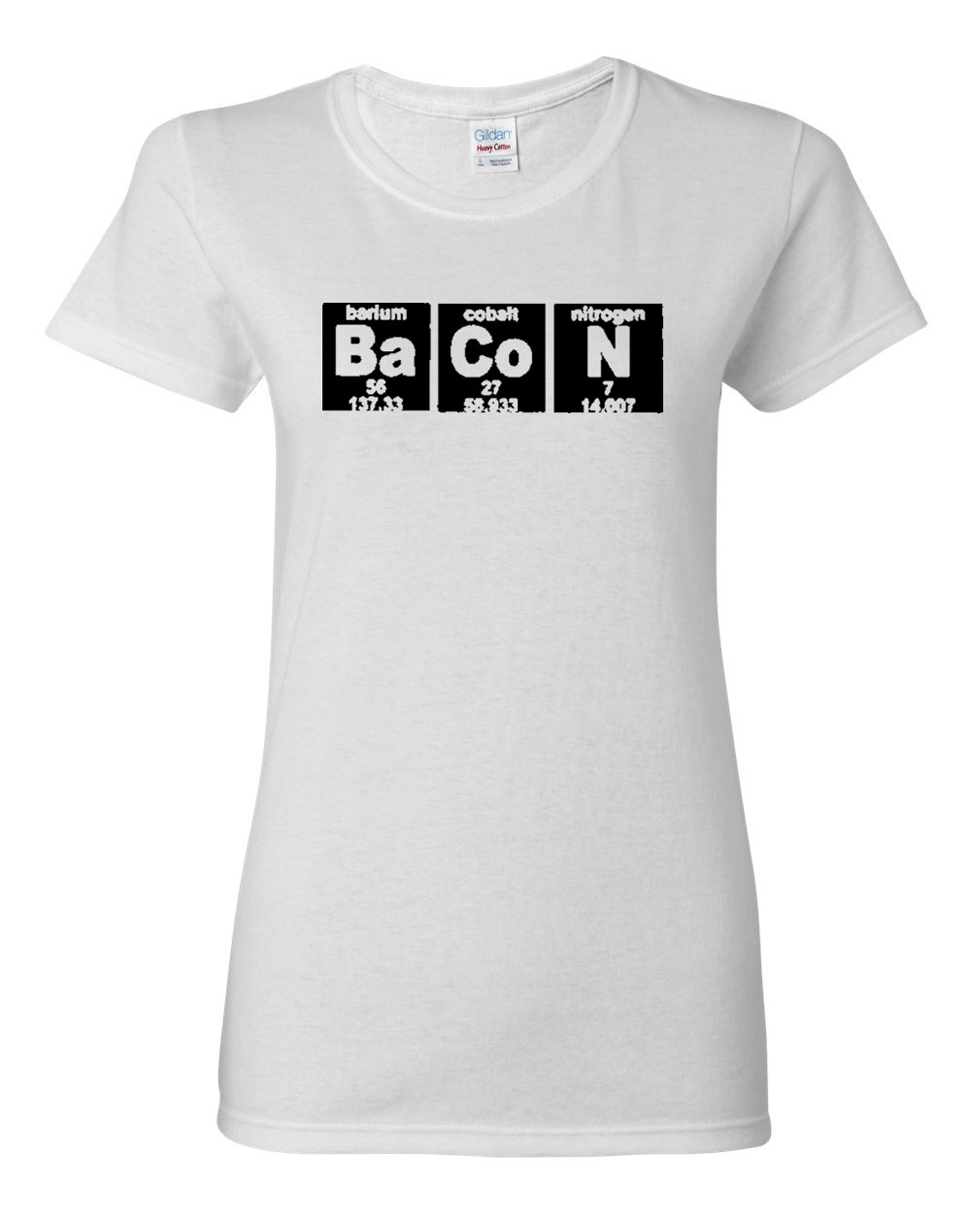 Ladies Bacon Strips Elements Chemistry Funny Humor T-Shirt Tee