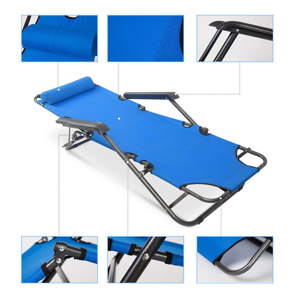 UBesGoo Folding Chaise Lounge Chair Patio Outdoor Pool Beach Lawn Recliner Reclining