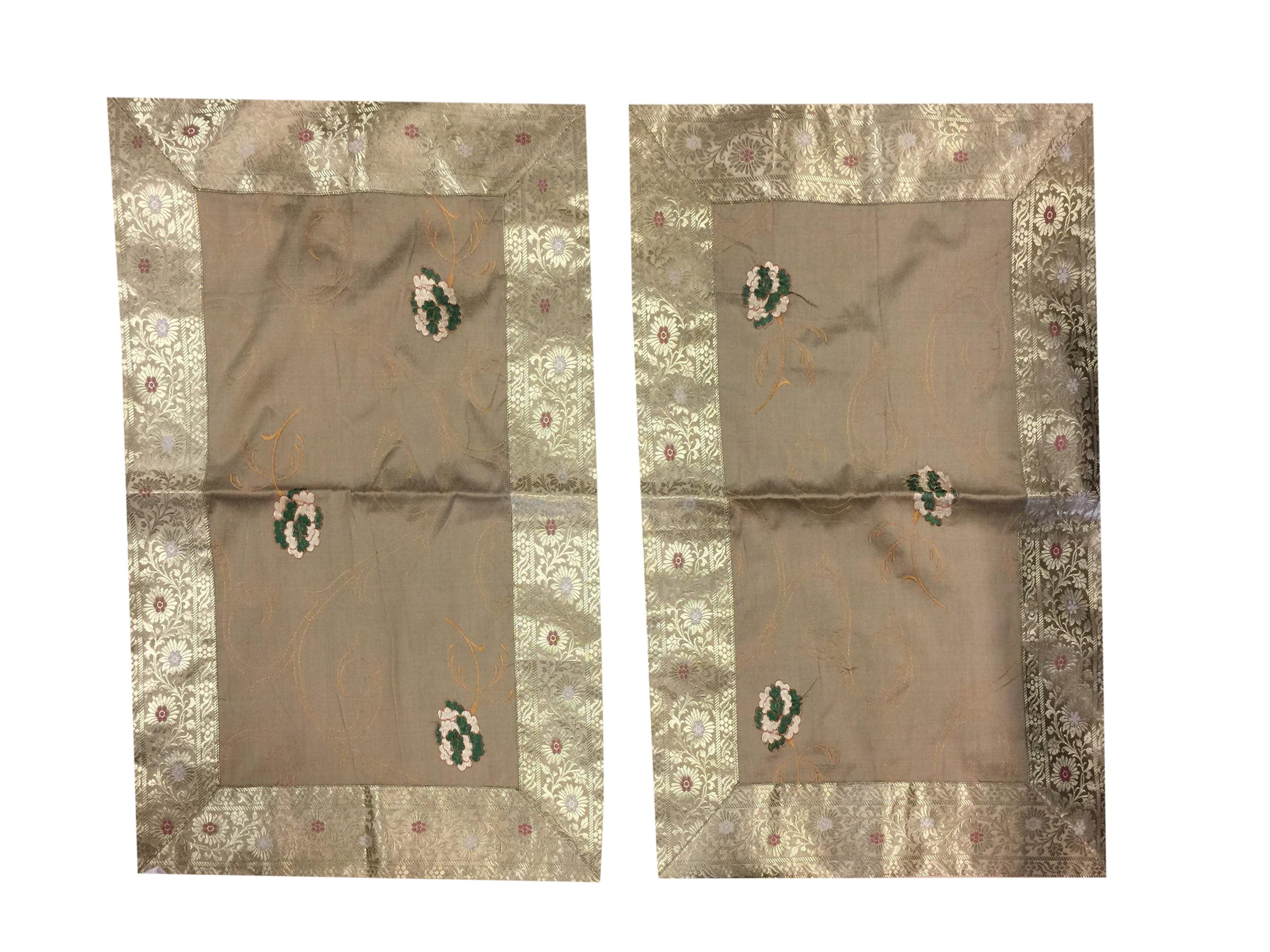 Mogul Indian Throw Pillow Cover Vintage Sari Border Decorative Handmade Patchwork Pillow... by