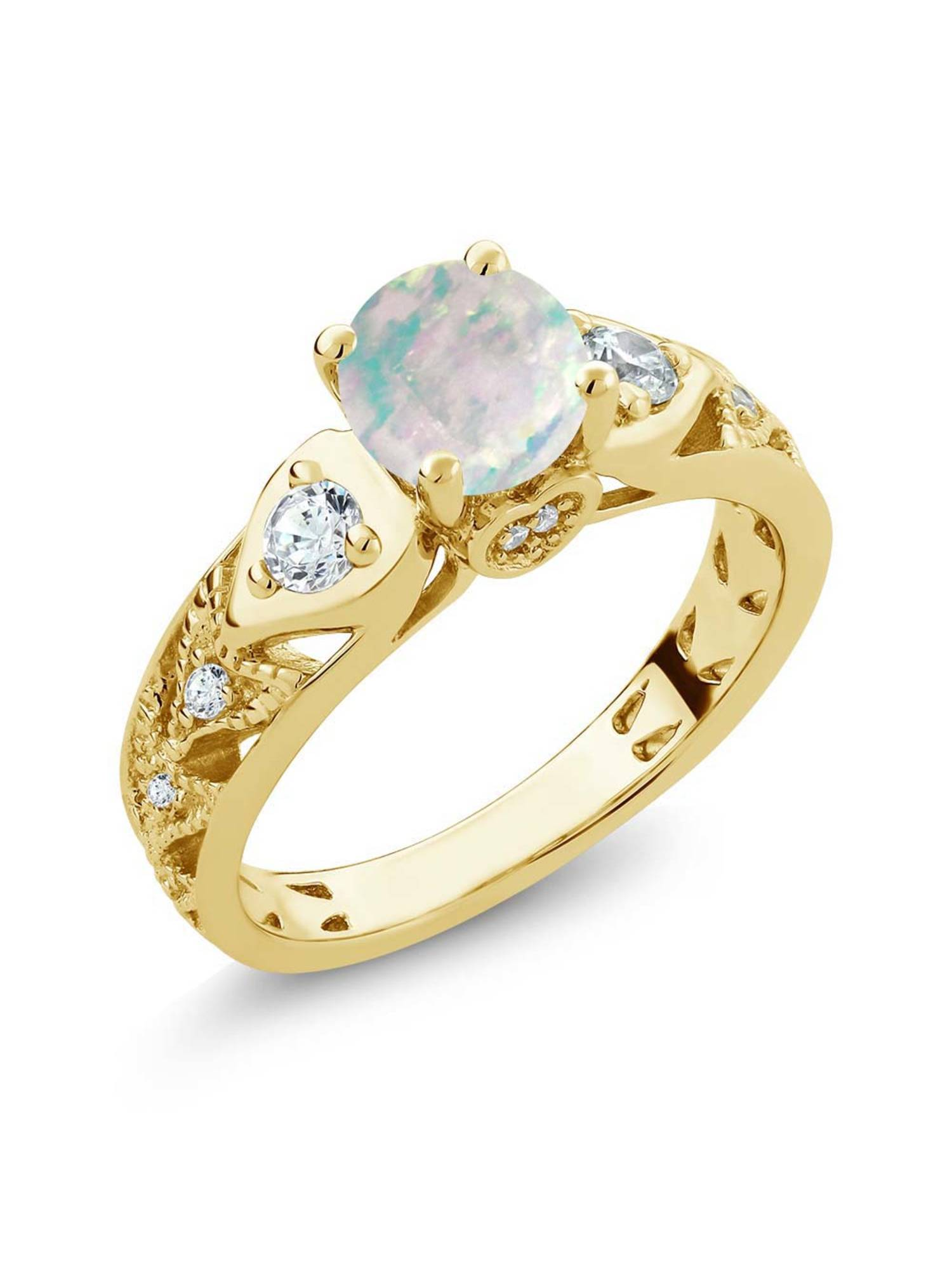 1.56 Ct Round Cabochon White Simulated Opal 18K Yellow Gold Plated Silver Ring by